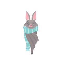 cute bat wearing blue knitted scarf gray funny vector image