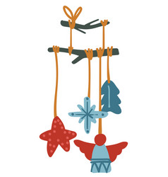 Decoration for xmas hanging wooden cuts on stick vector