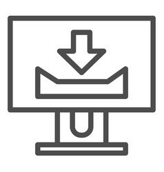 desktop monitor with download sign line icon vector image
