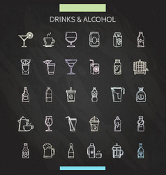Drinks chalk icons set vector