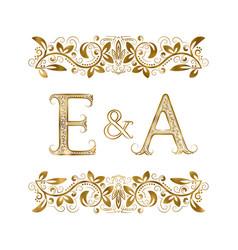 E and a vintage initials logo symbol vector