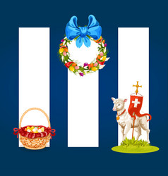 easter spring holiday cartoon banner set vector image vector image