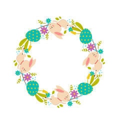 easter wreath of flowers colored eggs and rabbits vector image