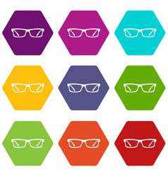 eye glasses icon set color hexahedron vector image