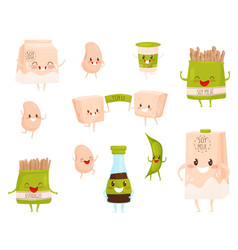 flat set of soy products characters with vector image