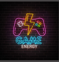 Game neon sign bright signboard light banner vector