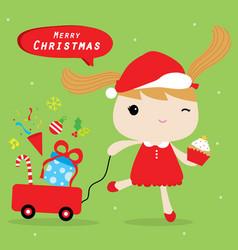 Girl love merry christmas cute cartoon vector