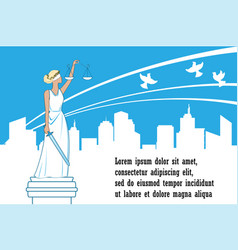 goddess justice themis on city background vector image