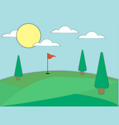 Golf course with a hole and a red flag paper art vector