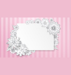 Greeting card template with paper flowers vector