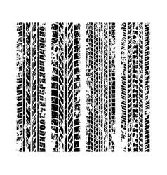 grunge tire tracks set 3 vector image