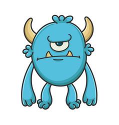 Happy cyclops cartoon furry creature monster vector