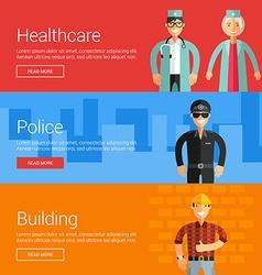Healthcare Police Buliding Flat Design Concepts vector