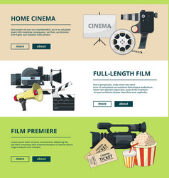horizontal banners set with cinema compositions vector image vector image
