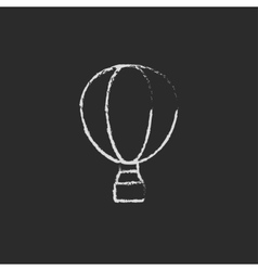 Hot air balloon icon drawn in chalk vector image