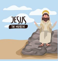 Jesus the nazarene in scene in desert sitting on vector