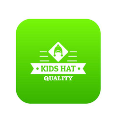 Kid hat icon green vector