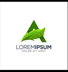 Letter a leaf logo vector