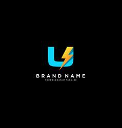 Letter u flash electrical logo design vector