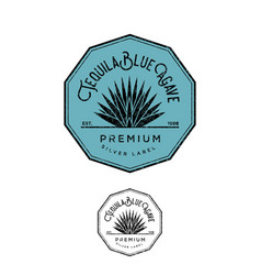 Logo tequila silver label blue agave premium vector