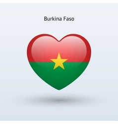 Love Burkina Faso symbol Heart flag icon vector image