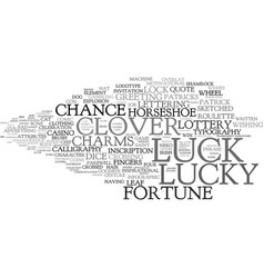 Luck word cloud concept vector