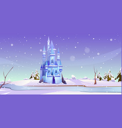 Magic castle at winter day on frozen river bank vector