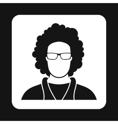 Male afro avatar icon simple style vector