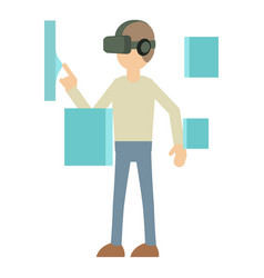 Man with high tech smart glasses icon vector