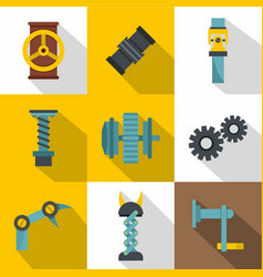 Mechanism parts icon set flat style vector