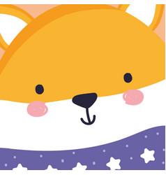 merry christmas celebration cute fox head wearing vector image