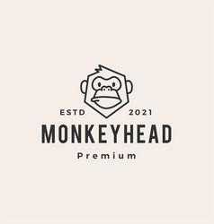monkey head hipster vintage logo icon vector image