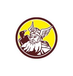 Norse God Odin Raven Circle vector image