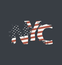 nyc letters in colors us flag in grunge style vector image