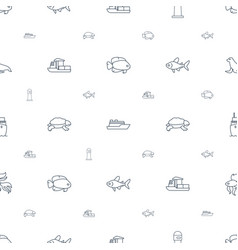 Ocean icons pattern seamless white background vector