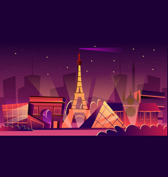 Paris night cityscape cartoon vector