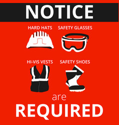 personal protective equipment warn signs vector image