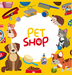 pet shop poster design with many pets and vector image