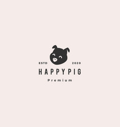 pig head logo hipster retro vintage icon vector image