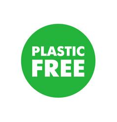 Plastic free simple green sticker certificate vector
