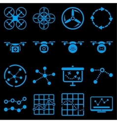 Quadcopter navigation icon set vector image