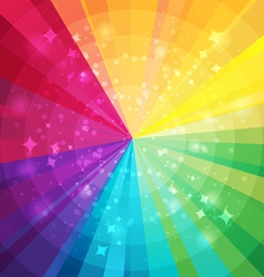 Rainbow bright background with rays vector image
