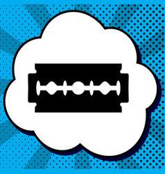 razor blade sign black icon in bubble on vector image