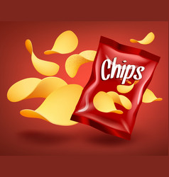 red chips package mockup with yellow crispy snacks vector image