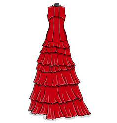 Red long evening dress with frills on a white vector