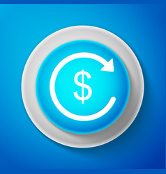 refund money icon isolated on blue background vector image
