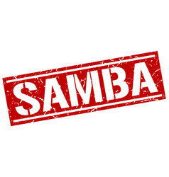 Samba square grunge stamp vector