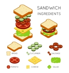 Sandwich ingredients in 3D isometric style vector