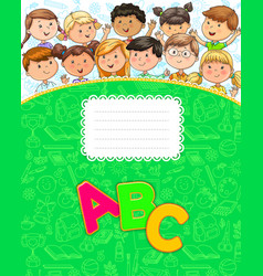 school notebook with cute funny kids vector image