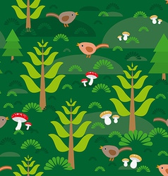 Seamless green background with fir trees mushrooms vector image